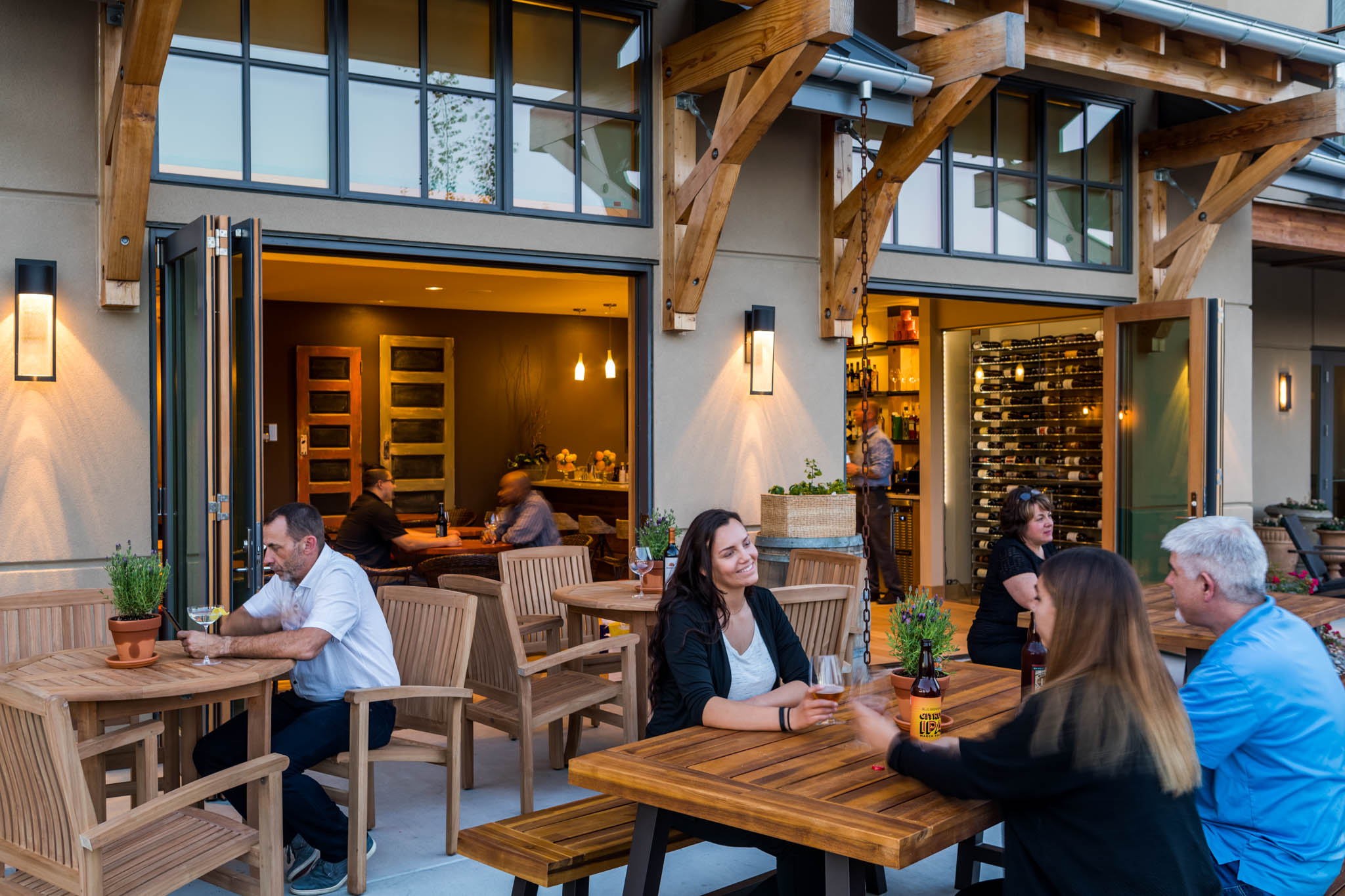 Vine Wine and Craft Bar Exterior with People